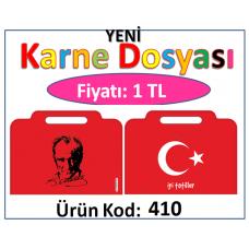 Yeni Çantalı Türk Bayrağı ve Atatürklü Karne Dosyası - KOD: 410